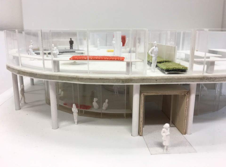 architect model of new Flokk HQ workplace with fabrics and models of peopel