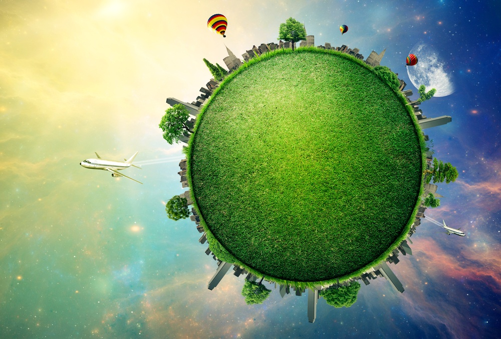 Green planet earth covered with grass city skyline. Sustainable source of electricity, power supply concept. Eco environmentally friendly technology approach. Elements of this image furnished by NASA-1